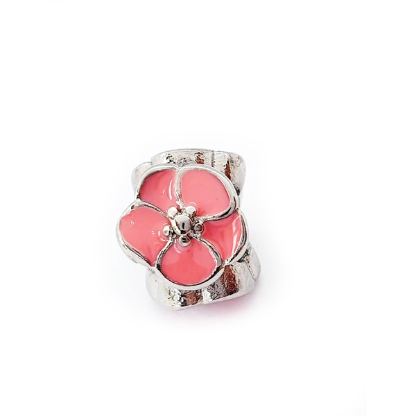 Berloque De Aço Flor Rosa