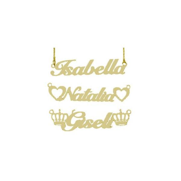 Corrente Manuscrito Nome Simples Em Prata 925 Banho Ouro 18k
