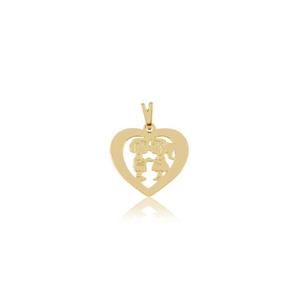 Pingente Folheado Ouro Coração De Namorados