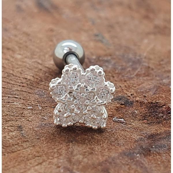 Piercing prata tragus patinha cravejada