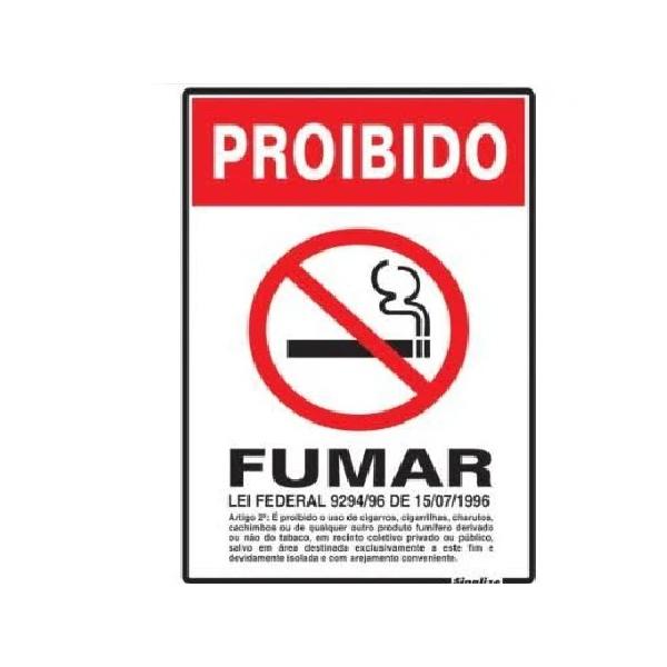 PLACA SINALIZE PROIBIDO FUMAR LEI FEDERAL