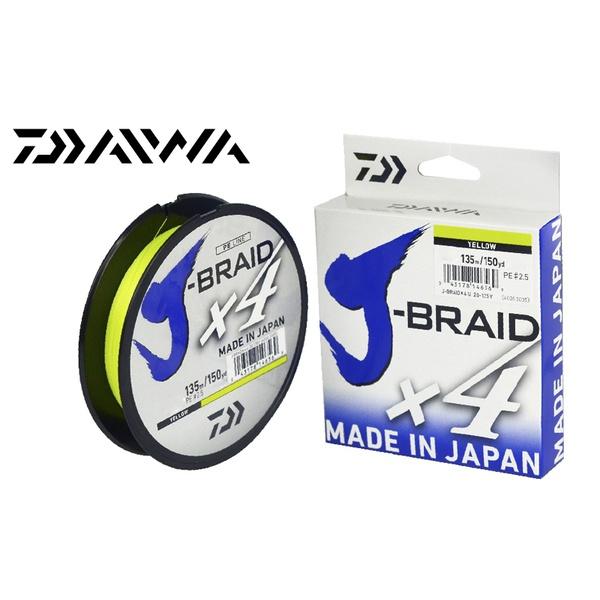 LINHA MULTIFILAMENTO DAIWA J-BRAID X4U 135m - AMARELA