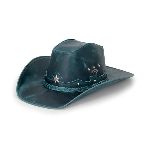 Chapéu Americano Em Couro Legítimo Fóssil Azul