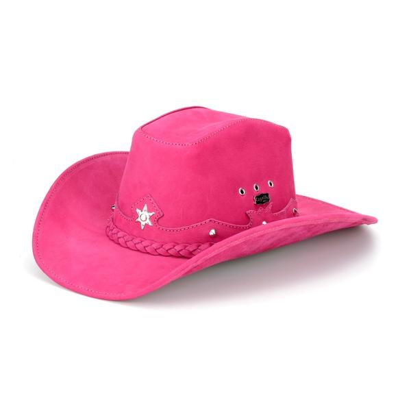 Chapéu Americano Em Couro Legítimo Rosa