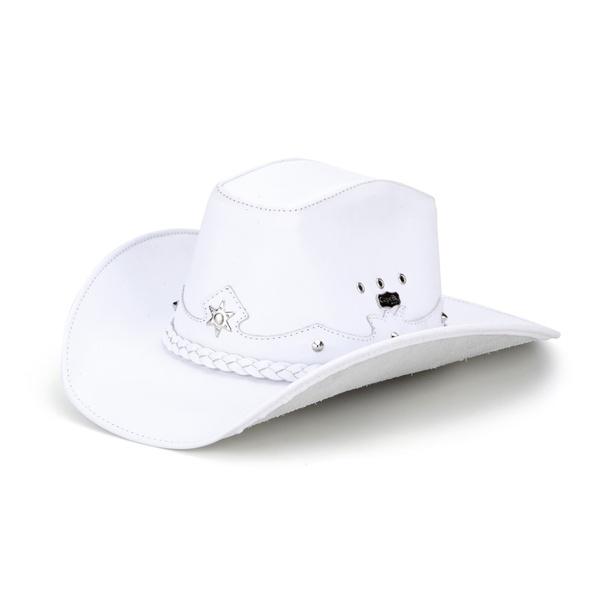 Chapéu Americano Em Couro Legítimo Branco
