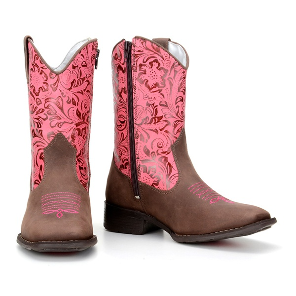 Bota texana Country Infantil Cano Floral