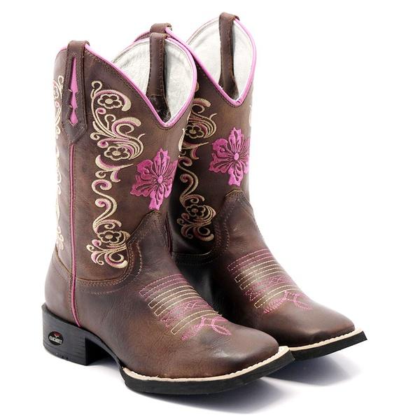 bota texana bico quadrado - FLORAL