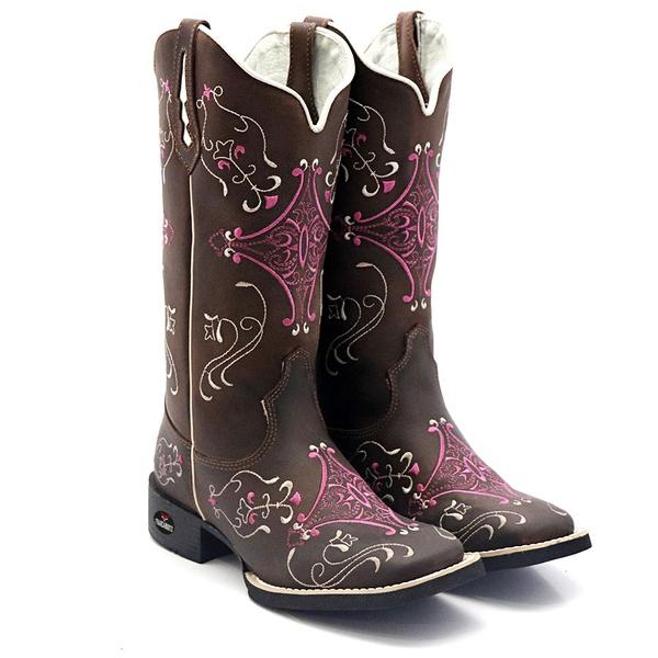 bota texana bico quadrado hopper pink