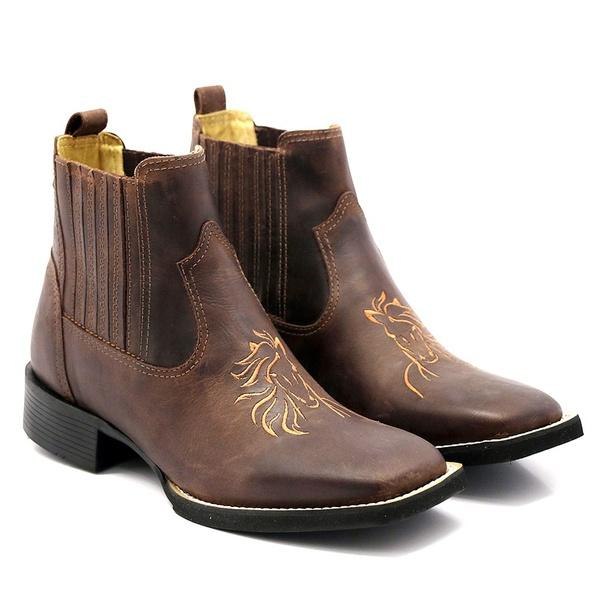 Botina Lisa Horse em Couro Legítimo Bico Quadrado Franca boots