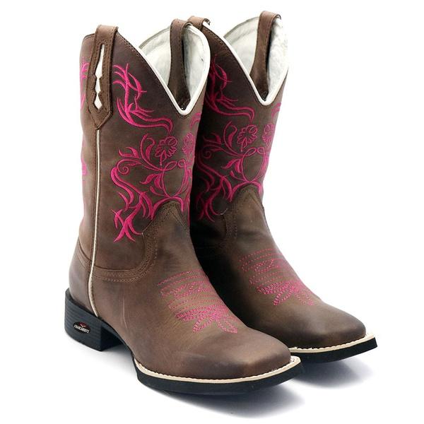 bota texana bico quadrado bordado pink