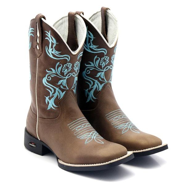 bota texana bico quadrado bordado azul