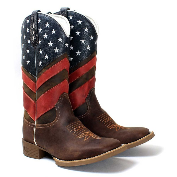 BOTA TEXANA BORDADA CANO ALTO MASCULINA USA FB57