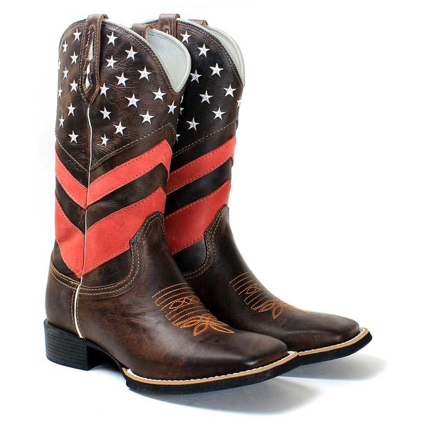 BOTA TEXANA BORDADA CANO ALTO MASCULINA USA FB58