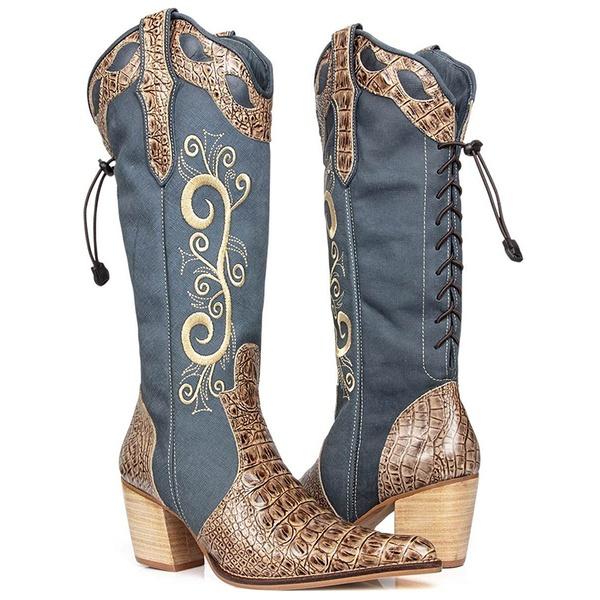 Texana Feminina De Couro Legítimo Jeans