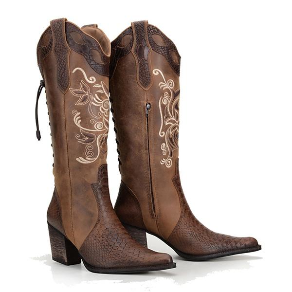 Bota Feminina Country Texana De Cano Longo