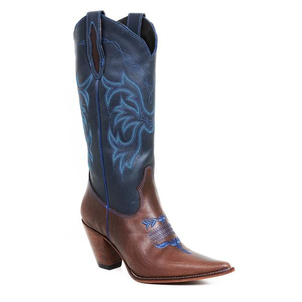 Bota Texana Feminina Couro Fóssil Café e Fóssil Azul - Silverado Botas