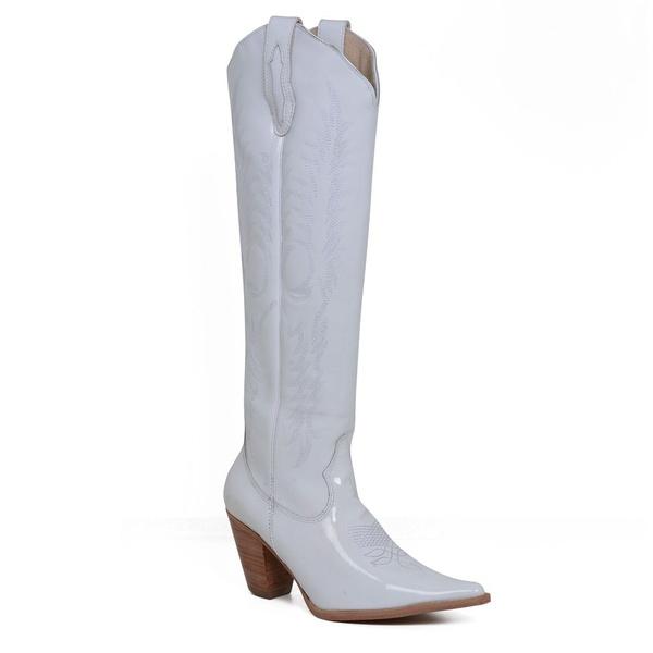 Bota Texana Feminina Cano Longo Couro Verniz Branco - Silverado Botas