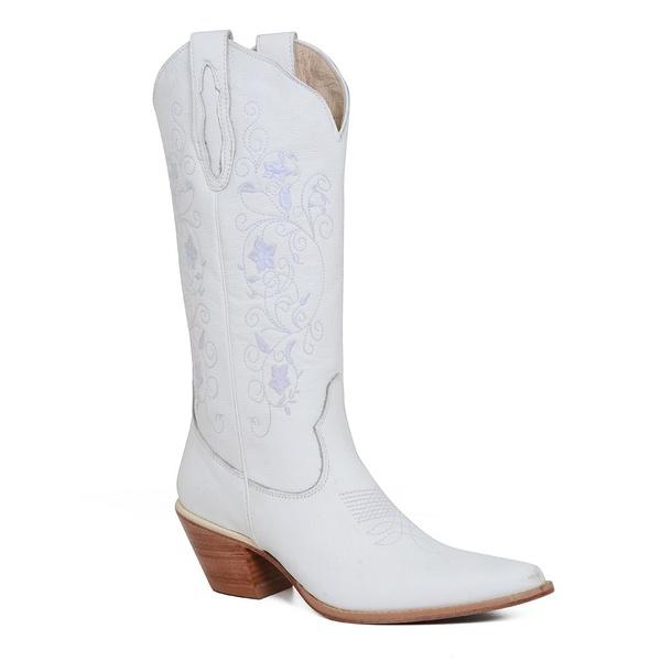 Bota Texana Feminina Couro Floater Branco 35 - Silverado Botas