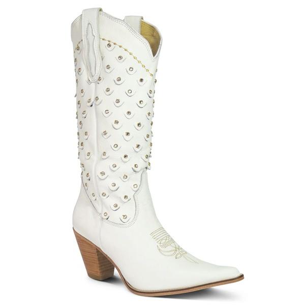 Bota Texana Feminina Couro Floater Branco E Strass - Silverado Botas