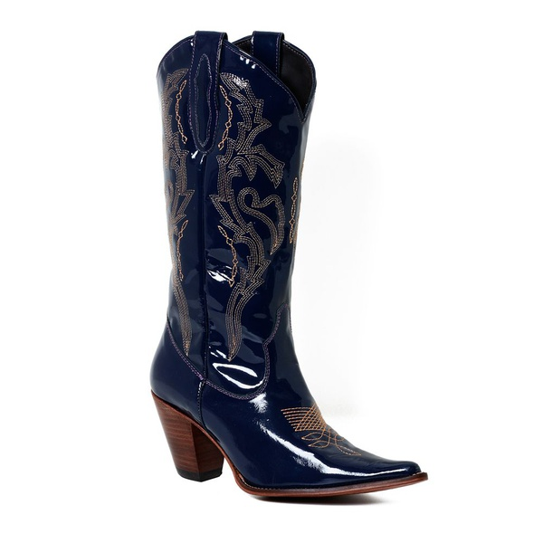Bota Texana Feminina Couro Verniz Azul Marinho - Silverado Botas