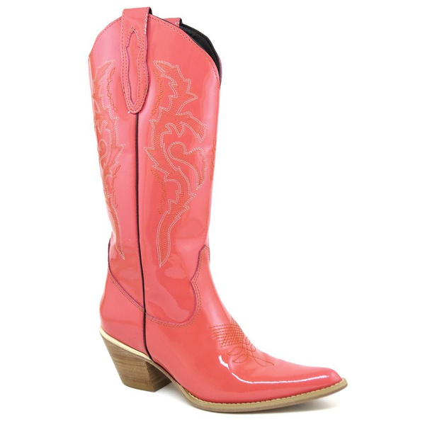 Bota Texana Feminina Couro Verniz Salmão Bordada - Silverado