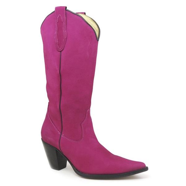 Bota Texana Feminina Couro Nobuck Pink Lisa - Silverado Botas Copia