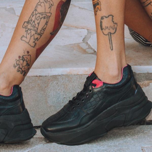 Tênis Sneaker Feminino De Griffe Up Chunky De Couro Conforto Preto e Groselha