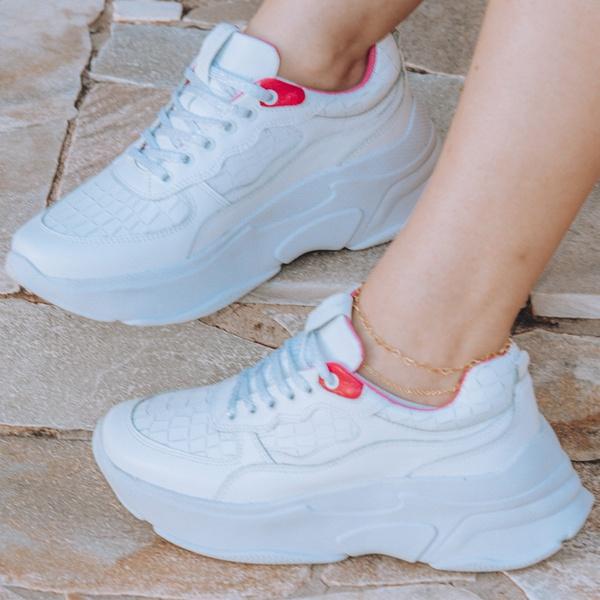 Tênis Sneaker Feminino De Griffe Up Chunky De Couro Conforto Branco e Groselha