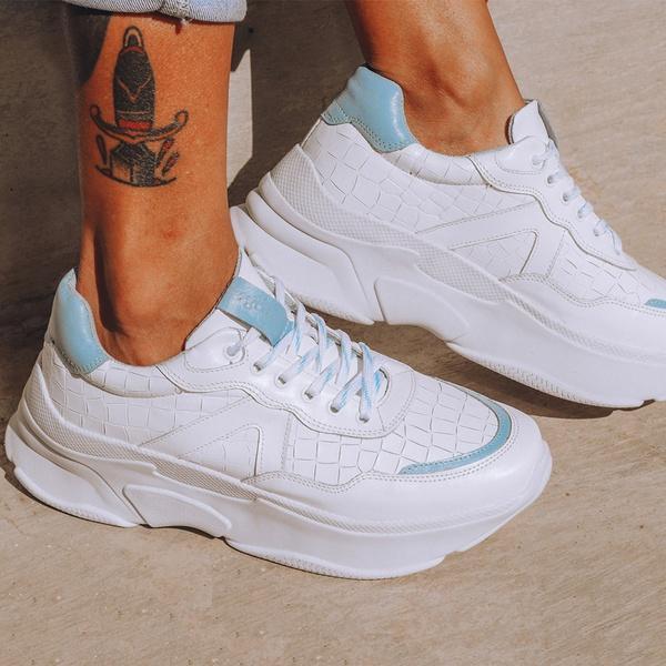 Tênis De Couro Dad Sneaker Chunky De Griffe Recortes Branco/Azul