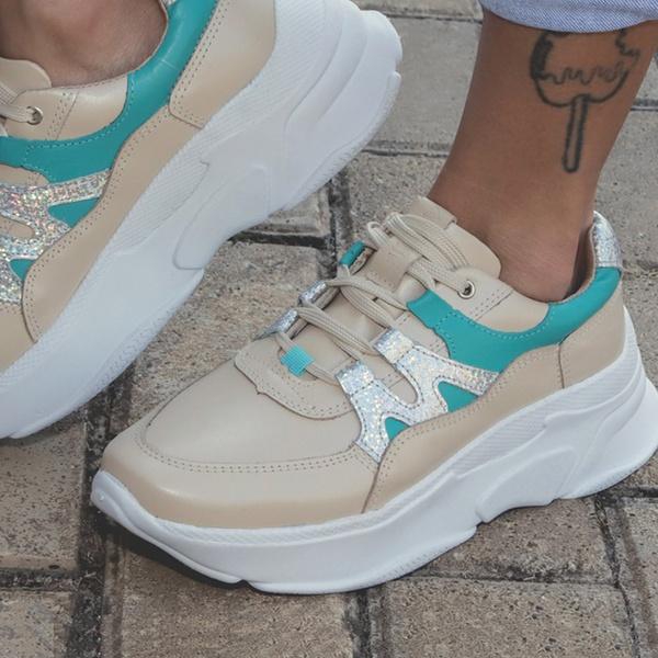 Tênis Feminino De Couro Chunky Sneaker De Griffe Perola