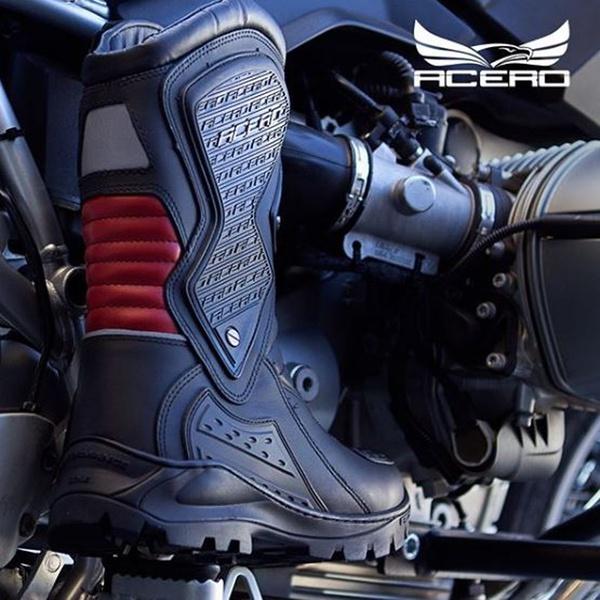 Bota Motociclista Speed Low Touring Vermelha Impermeável de Couro