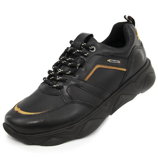 Tênis Chunky Sneaker Masculino Tracker Em Couro Preto