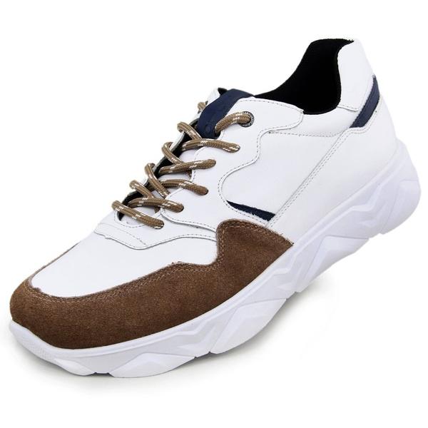 Tênis Chunky Sneaker Masculino Tracker Em Couro Areia Veneza Branco