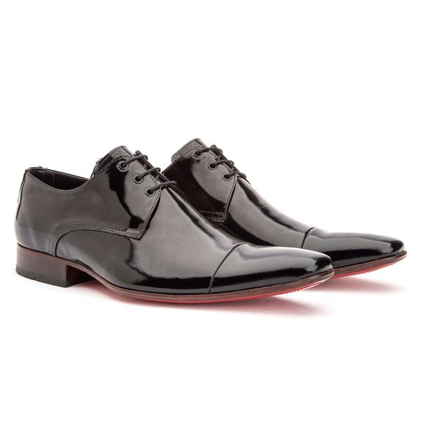 Sapato Social Masculino Oxford Couro Verniz Preto 307
