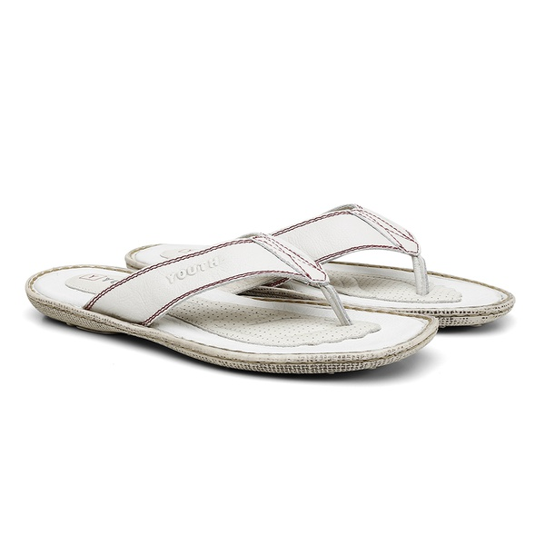 Chinelo de Couro Napa Fly Off White
