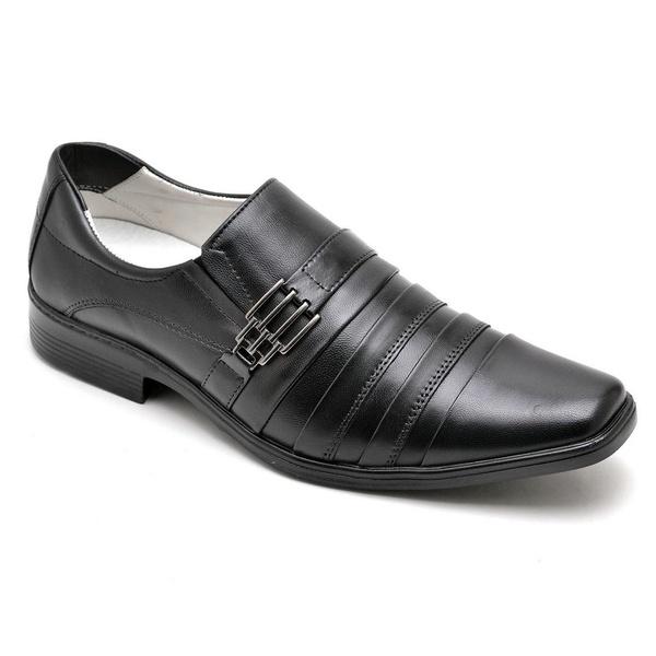 Sapato Casual Conforto Couro de Carneiro Preto 010