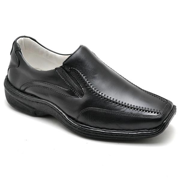 Sapato Casual Conforto Couro de Carneiro Preto 2017