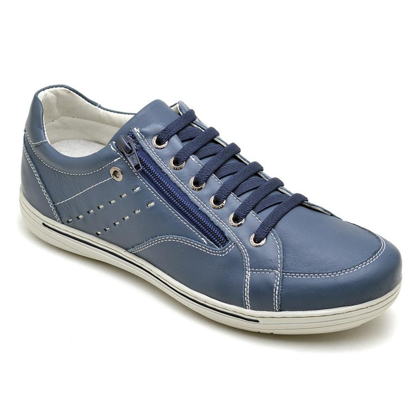 Sapatênis Casual Conforto Couro Azul 3009