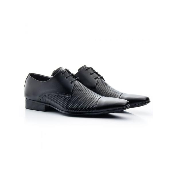 Sapato Social Masculino Couro Estampa Preto 307