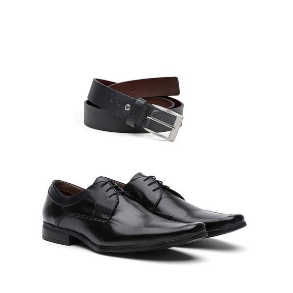 KIT 01 Par de Sapatos Pelica Preta + Cinto de Couro
