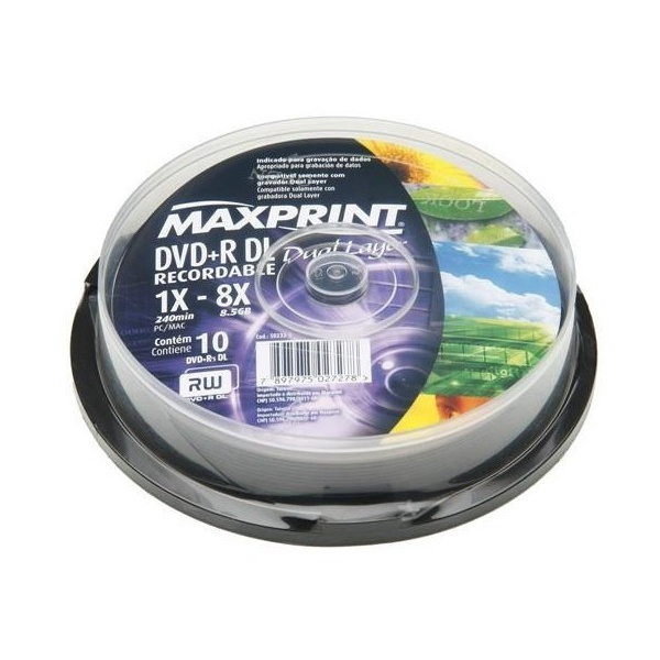 DVD+R DUAL LAYER MAXPRINT 8.5GB LOGO PINO C/10UN.