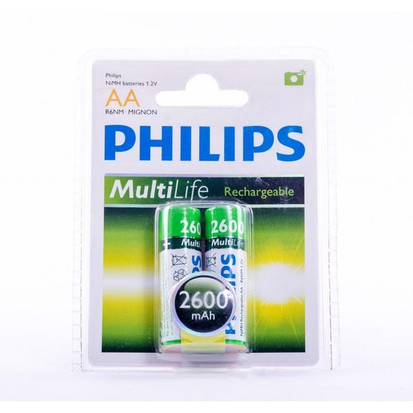 PILHA AA PHILLIPS RECARREGÁVEL C/2 1,2V - 2600MAH