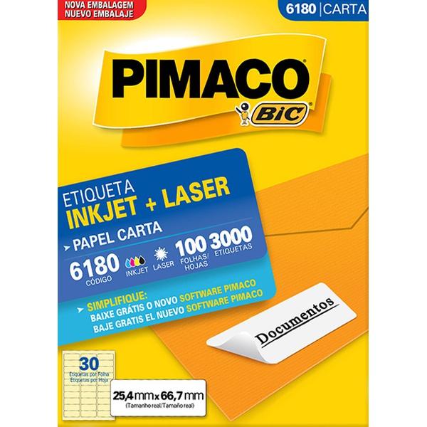 ETIQUETA INKJET+LASER 100FLS PIMACO 6180