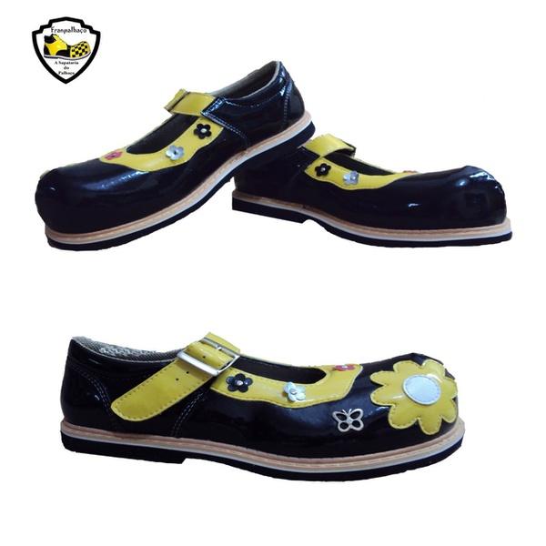 Sapato de Palhaço Feminino Infantil Preto com Flor Ref 901
