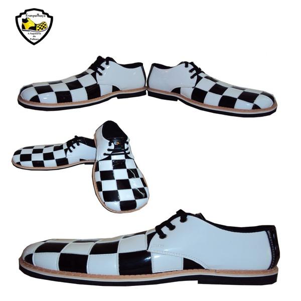 Sapato de Palhaço Quadriculado Branco/Preto Ref 800