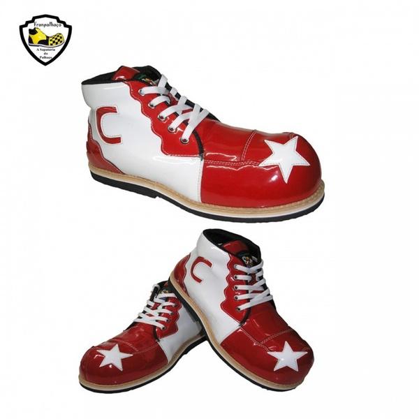 Sapato de Palhaço Infantil Branco/Vermelho com Estrela Ref 400