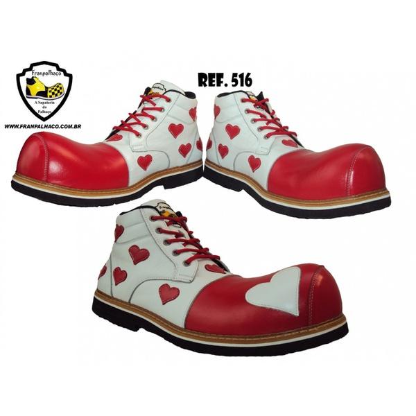 Sapato de Palhaço Feminino Branco/Vermelho Corações Ref 516