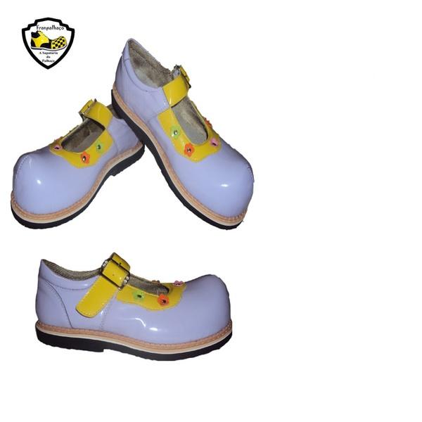Sapato de Palhaço Feminino Infantil Lilás Detalhe em Amarelo Ref 900