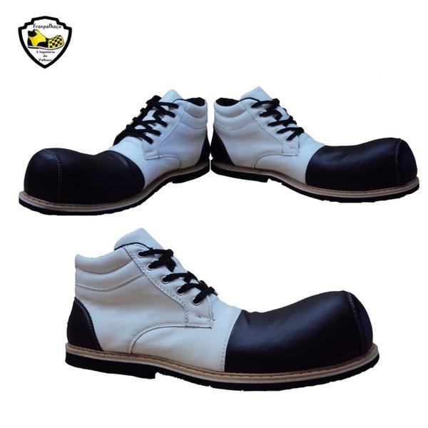 Sapato de Palhaço Infantil Branco com Bico Preto Ref 510