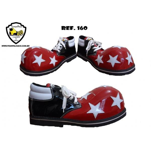 Sapato de Palhaço Preto/Vermelho/Branco com Estrelas Ref 160